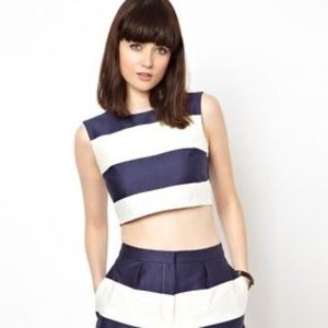 ASOS | Blue White Wide Striped Shell Crop Top